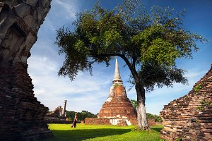 Tourist in the Ruins of Ancient Thai