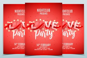 Love party invitation poster templat