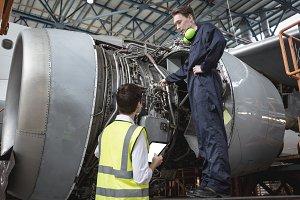 Male aircraft maintenance engineers