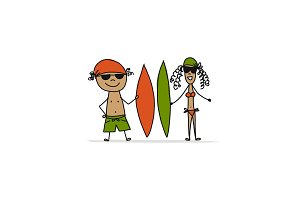 People with surfboards, sketch for