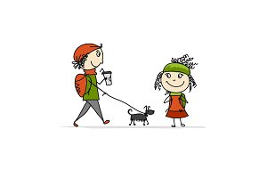 Boy and girl walking with dog