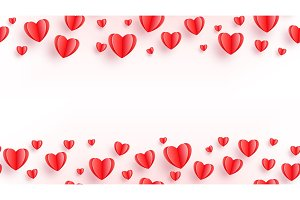 Heart seamless background with red
