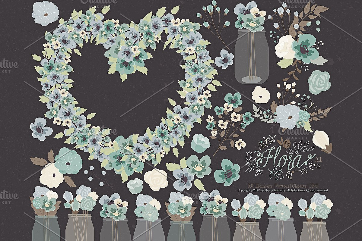 Flower Clipart and Vector – Flora 21