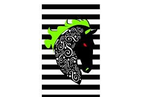 Horse head black and white ornament
