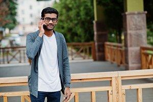 Stylish indian man at glasses wear c