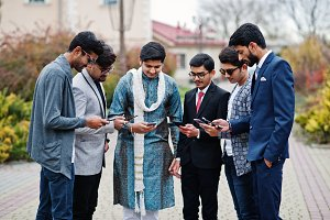 Group of six south asian indian mans