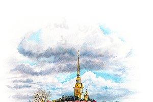 Watercolor Saint Petersburg, Russia