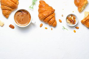 Freshly Baked Croissants and Coffee