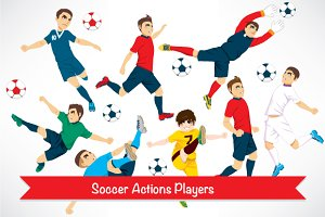 Cartoon Action Soccer Players
