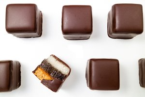 Pattern of chocolate candies