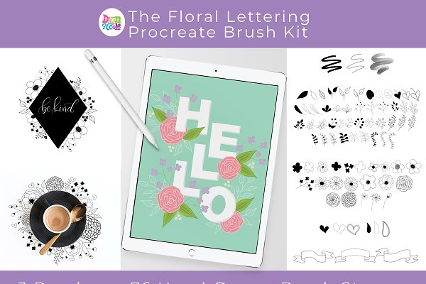 Photoshop Brushes: Dawn Nicole Designs® - Floral Lettering Procreate Brush Kit