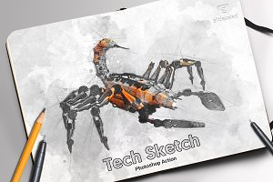 Tech Sketch Art Photoshop Action