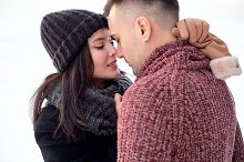 Sensual couple in love kissing outdo