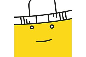 Smiling emoticon with hat vector