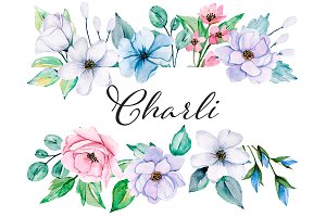 Watercolor floral set Charli.