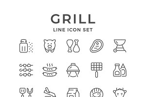 Set line icons of grill
