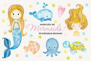 Mermaids 1. Watercolor clipart
