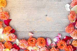 Flowers composition on wooden