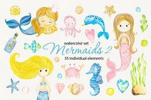 Mermaids 2. Watercolor clipart