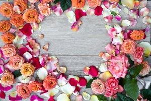 Frame heart made of rose flowers on