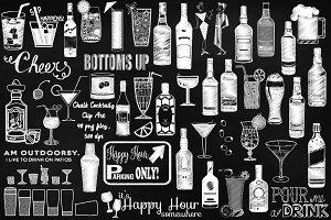 Chalk Sketchy Cocktails Clip Art