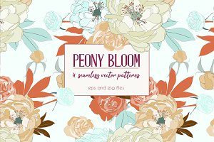 Peony Bloom Seamless Pattern