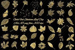 Gold Foil Skeleton Leaf Clip Art