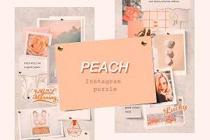 Peach Instagram Puzzle Template