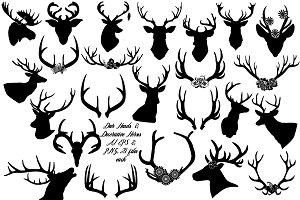 Deer & Deco Antlers AI EPS PNG