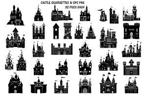 Castle Silhouettes AI EPS PNG