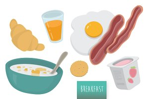 Assorted vector Breakfast Set