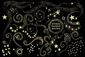 Gold Foil Swirls & Shooting Stars