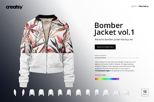 Women's Bomber Jacket Mockup Set v.1