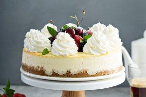 Classic New York cheesecake decorate