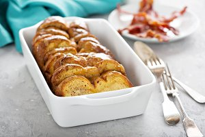 French toast bake in a white dish