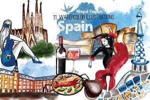 Spain travel illustrations