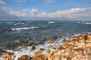 Stony coast Mediterranean sea, Israe