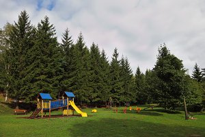 Park for children at the forest reso