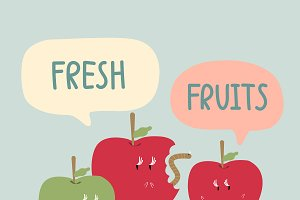 Fresh red and green apples cartoon