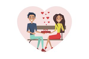 Couple in Love Sitting Bench Vector