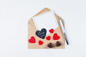 Valentines day mockup. Love card.