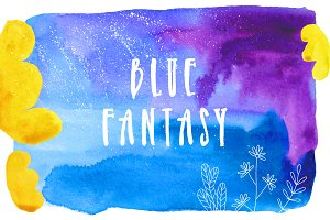 Blue Fantasy | Watercolor and lines