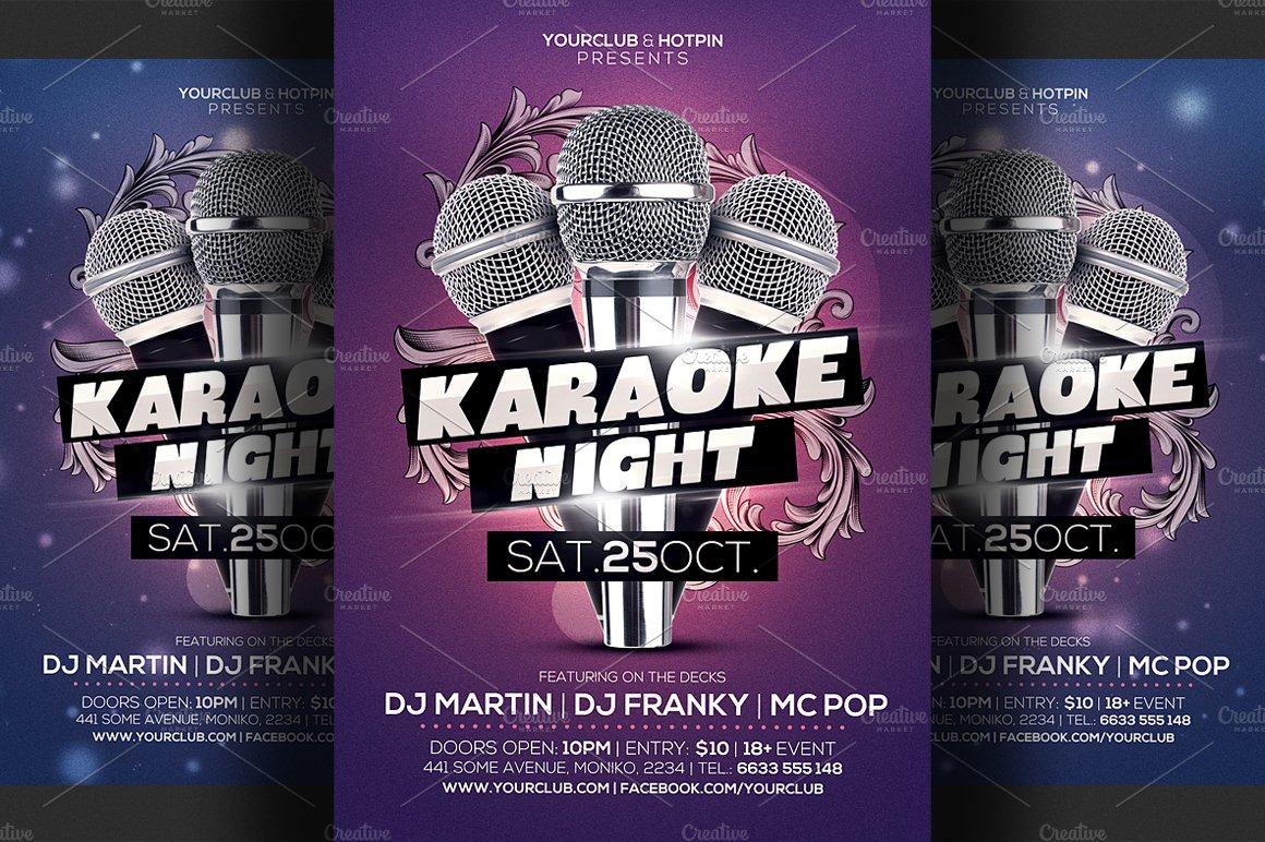 Karaoke Night Flyer Template 3 Flyer Templates Creative Market