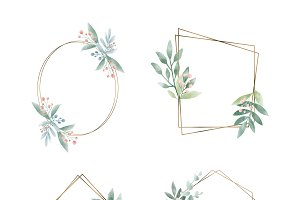 Set of geometric frame with leaves