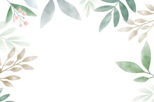 Watercolor leaves with copy space