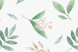 Watercolor leaves graphic pattern