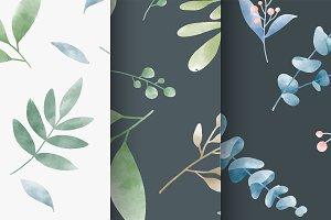 Set of watercolor leaves pattern
