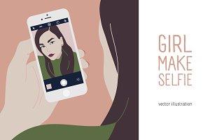 Girl making selfie illustration