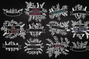 Chalkboard Floral Banners Clipart