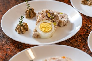 Meat jelly with egg
